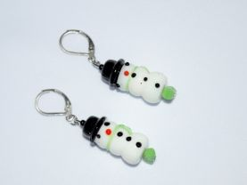 Snowman earrings, lamp worked glass snowman bead accented by green glass rectangle