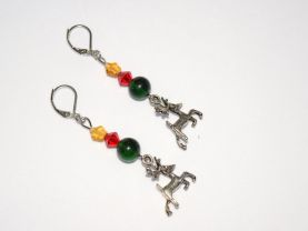 Reindeer earrings with red, green and yellow beads