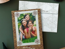 Brown Shimmery Screen Printed Holiday Card