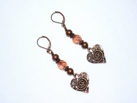 Copper heart earrings with antiqued copper heart charm, fire polished crystal and copper  colored beads