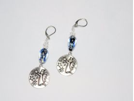 Angel earrings with antiqued silver charm topped by lampworked and crystal beads