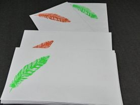 Feather Hand Stamped Envelopes
