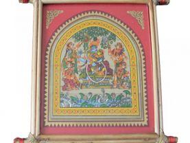 Pattachitra Wall Hanging of Radha & Krishna (Well Framed)