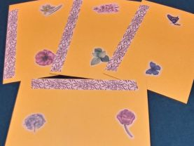 Bright Orange Floral and Butterfly Envelopes with Designer Paper Group