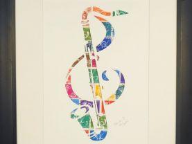 """Vintage Postage Stamp Art - """"Bass Clarinet"""""""