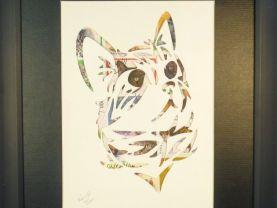 """Vintage Postage Stamp Art - """"Cat Head"""""""