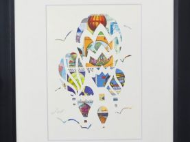 "Vintage Postage Stamp Art - ""Hot Air Balloons"""