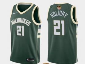 Men's Milwaukee Bucks #21 Jrue Holiday Green 2021 Finals Jersey
