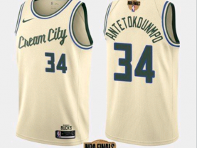Men's Milwaukee Bucks #34 Giannis Antetokounmpo Cream 2021 Finals Jersey