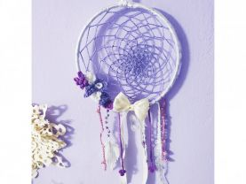 Crochet girly dream catcher / Lilac wall panel for the girl