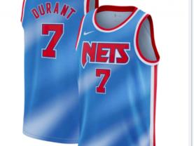 Men's Brooklyn Nets #7 Kevin Durant Hardwood Classic Blue Jersey