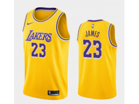 Men's Los Angeles Lakers #23 LeBron James Gold Icon Edition Jersey