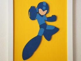Handmade Mega Man minimalist wood wall art