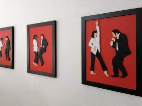 Handmade Pulp Fiction minimalist set of wall art