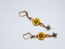 Yellow flower earrings with bronze rainbow crystals