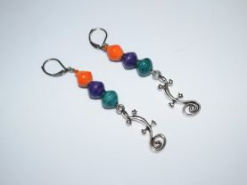 Gecko earrings with rolled paper beads