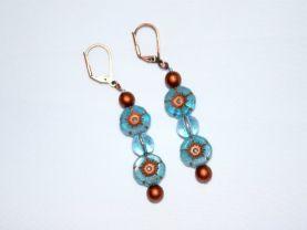 Blue topaz and copper flower earrings