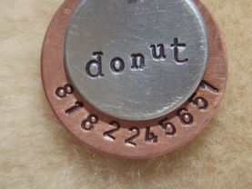 The DONUT - Unique Handstamped Pet ID Tag Layered 2 Disc Dogs