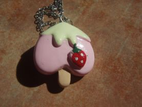 STRAWBERRY SHORTCAKE Popsicles Necklace Adorable Unique Pop Pendant - - Gift Packaged