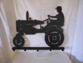 Farmer on Tractor Coat Rack Metal Wall Art Silhouette