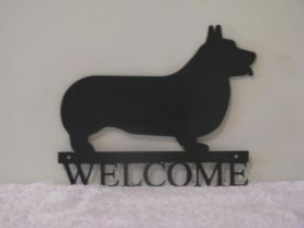 Corgi Welcome Metal Silhouette Small Wall Art