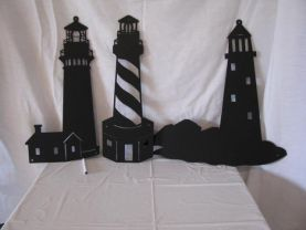 Lighthouse  Metal Wall Art Silhouette Set of Three