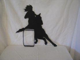 Girl Barrel Racer Western Metal Wall Art Silhouette