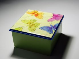 Decorative Green and Blue Wooden Box with Butterflies Design