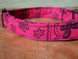 Prairie Dreams - Organic Cotton Dog Collar LARGE Pink Navy Blue Cowgirls - All Antique Brass Hardware