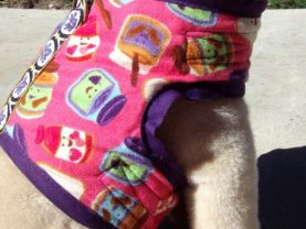 PB&J Peanut Butter and Jelly Organic Cotton Super Soft Harness Vest SMALL Fully Chenille Lined