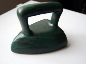 Green Decorative Ceramic Iron with Hand painted Mexican Town