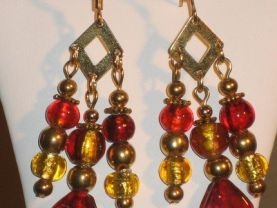 Red and Gold Foil Glass Calisto  Earrings