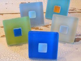 Beach Glass Tile Cabinet Knob, Drawer Pull Short Hardware