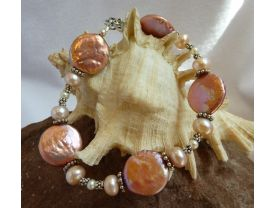All Shades of Pink and White Freshwater Pearl and Sterling Silver Bracelet
