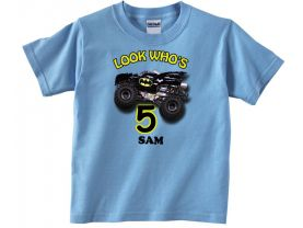 Batman Monster Jam Truck Personalized Custom Birthday Pink or Blue Shirt in sizes Toddler 2T to Youth XL