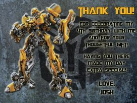 Transformers Bumblebee Thank You Card Personalized Birthday Digital File