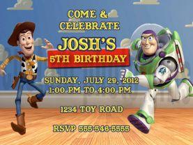 Toy Story Woody Buzz Lightyear Invitation Personalized Birthday Digital File
