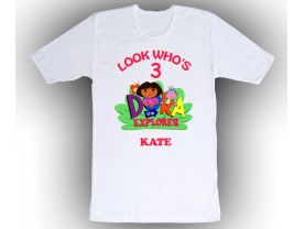 Dora the Explorer Personalized Custom Birthday White Shirt in sizes Toddler 2T to Adult XL