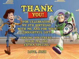Toy Story Woody Buzz Lightyear Thank You Card Personalized Birthday Digital File