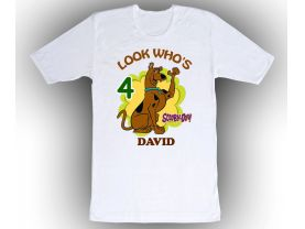 Scooby Doo Custom White Shirt in sizes Toddler 2T to Adult XL