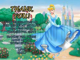 Disney Cinderella Thank You Card Personalized Birthday Digital File