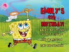Spongebob Squarepants Invitation Personalized Birthday Digital File