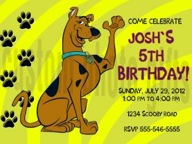 Scooby Doo Birthday Invitation Personalized Digital File