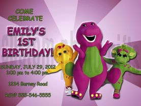 Barney  Birthday Invitation Personalized Digital File
