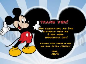 Mickey Mouse Thank You Card Personalized Birthday Digital File