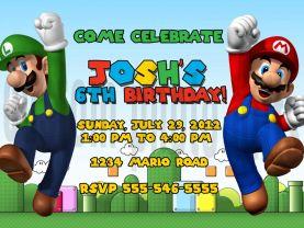 Super Mario Brothers Invitation Personalized Birthday Digital File