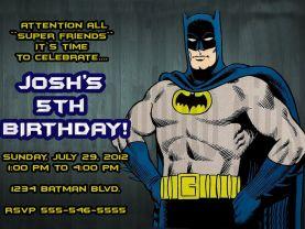 Batman Birthday Invitation Personalized Digital File