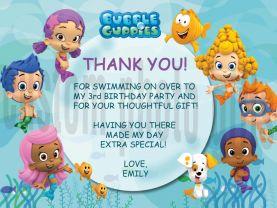 Bubble Guppies Thank You Card Personalized Birthday Digital File