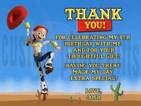 Toy Story Jessie Thank You Card Personalized Birthday Digital File