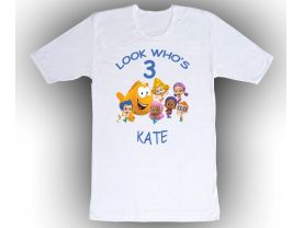 Bubble Guppies Personalized Custom Birthday White Shirt in sizes Toddler 2T to Adult XL